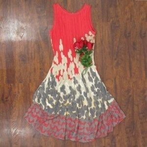 Nic & Zoe Coral Geometric Sleeveless Midi Dress